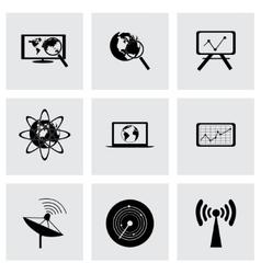 black seo icons set vector image