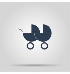 Carriage for two baby web icon vector image