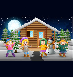 Cartoon of happy kids wearing a winter clothes in vector