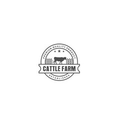 Cattle farm logo design - angus cow farm vector