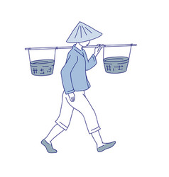 Chinese farmer carries basket on his shoulder man vector