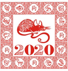 chinese zodiac sign year rat vector image