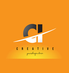Ci c i letter modern logo design with yellow vector