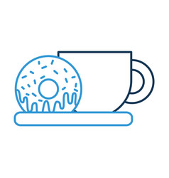 coffee cup and sweet donut in dish food vector image