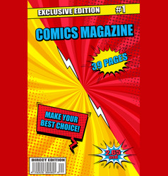colorful comics magazine cover concept vector image