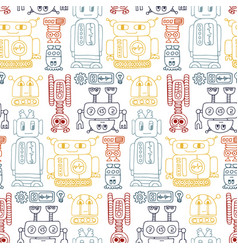 Colorful seamless pattern with retro robots vector