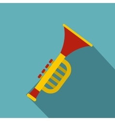 Colorful trumpet toy icon flat style vector image