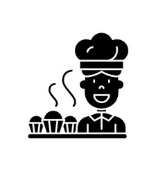 cook preparing desserts black icon sign on vector image