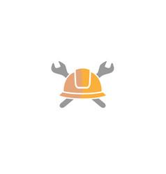 creative helmet engineer wrench logo design vector image