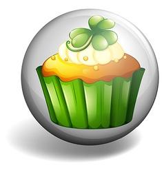 Cupcake on round badge vector