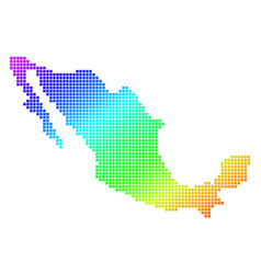 Dotted pixel spectrum mexico map vector