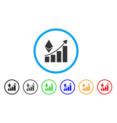 ethereum growth trend rounded icon vector image