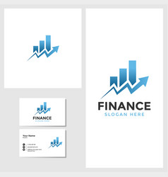 finance business logo template with business card vector image