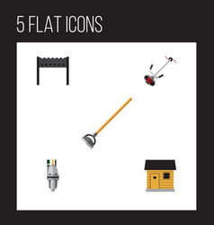Flat icon dacha set of pump grass-cutter vector