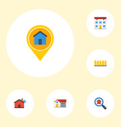 Flat icons real estate magnifier home and other vector
