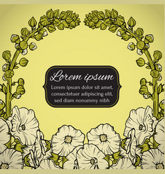 Floral wreath postcard with flowers vector