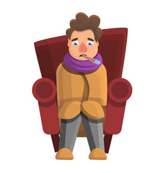 flu man at home icon cartoon style vector image