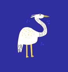 funny exotic bird hand drawn vector image