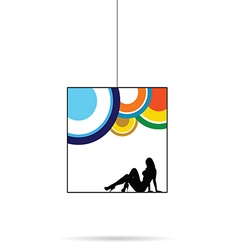 Girl silhouette beauty black in cube in colorful vector