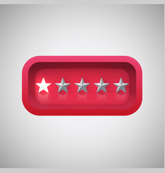 Glowing red star rating in a realistic shiny box vector
