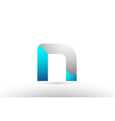 Grey blue alphabet letter n logo 3d design vector