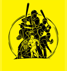 Group baseball players action cartoon sport vector