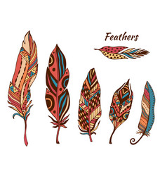 Hand drawn boho feathers collection set of doodle vector