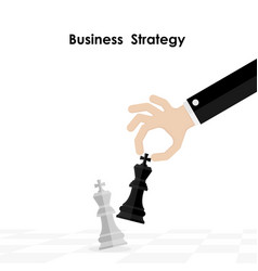 hands and king of chess symbol with business and vector image