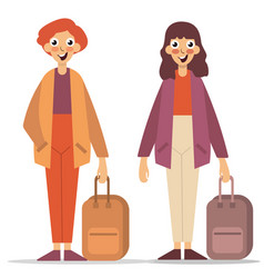 Happy couple with luggage on white background vector