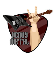 Heavy metal label with electric guitar and hand vector