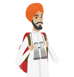 hindu traveler man with backpack and binoculars vector image
