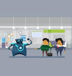 Human vs robots modern robotic and business men in vector