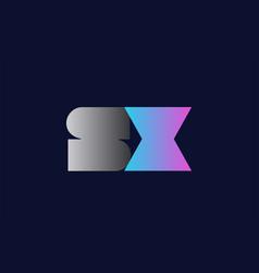 initial alphabet letter sx s x logo company icon vector image