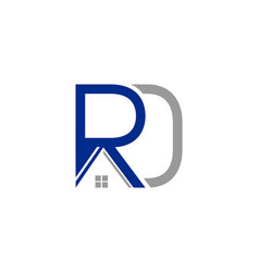 initial logo rd with house icon business logo and vector image