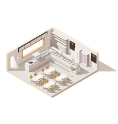 Isometric low poly self service restaurant vector