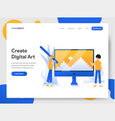 landing page template creating digital art vector image