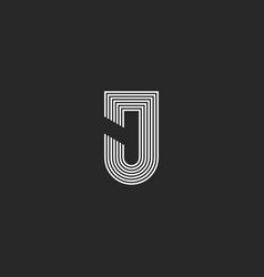letter j logotype monogram black and white thin vector image