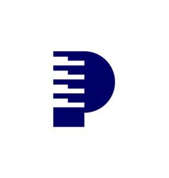 letter p piano logo concept icon vector image
