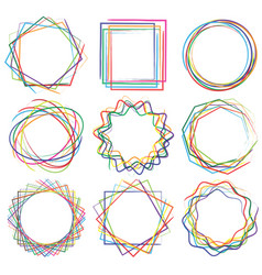 Line shape art frame set 04 vector