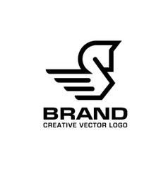 linear pegasus logo vector image