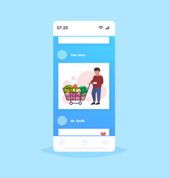 man grocery shop customer pushing trolley cart vector image