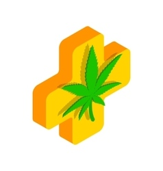 Marijuana leaf with a cross icon vector image