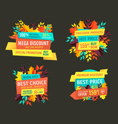 mega fall discount on exclusive products emblems vector image