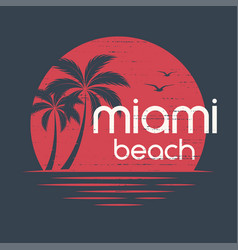 Miami sunset t-shirt and apparel design vector