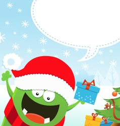 Monster Christmas Message vector image