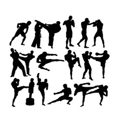 muay thai silhouettes vector image