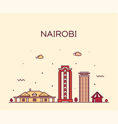 nairobi skyline kenya city linear style vector image