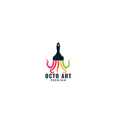 Octopus tentacle with paint brush art logo design vector