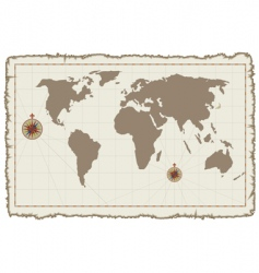 old world map on parchment vector image