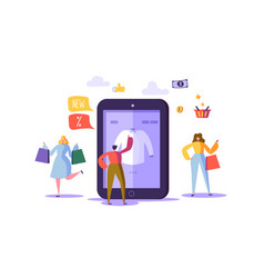online shopping concept with characters mobile vector image